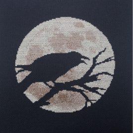 Raven Moon Cross Stitch Pattern